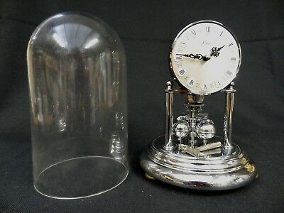German KERN Anniversary Domed Chrome and Glass Mantel Clock Mechanical Movement