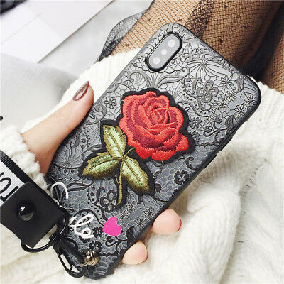For Huawei P20 P Smart Stylish Smile Lace Embroidery Rose Flower Hard Case Cover