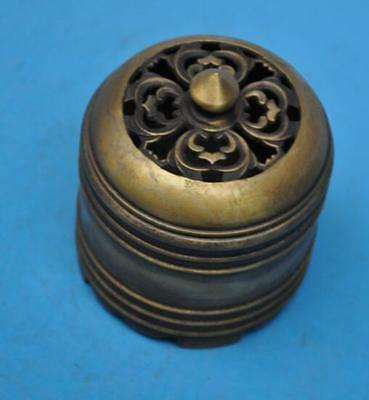 chinese old fengshui copper hand-carved hollow out incense burner d02