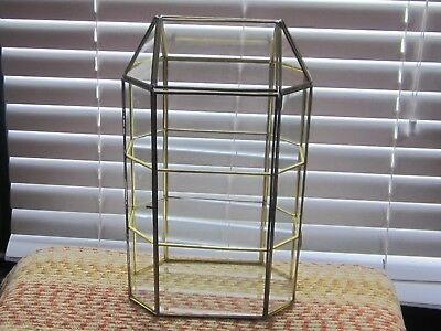 """VINTAGE Glass & Brass Display Case Curio 3 Shelves 17"""" TALL Table Top"""