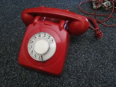 Vintage Retro Red TELE 706F Telephone, Working & Tested 1969 Model GPO