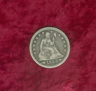 1853 (Arrows & Rays) Seated Liberty Quarter in Fine