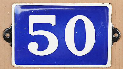 Old blue French house number 50 door gate plate enamel on steel metal plaque