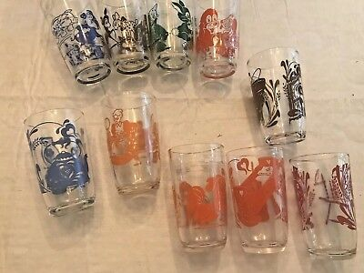10 Vintage Swanky Swig Kraft Juice Glasses Green Blue Brown Red Orange Ln