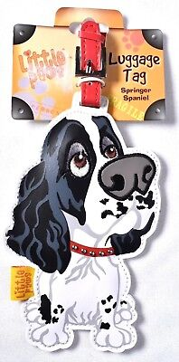 LITTLE PAWS Luggage Tag Black & White Springer Spaniel 3804-LPLT-SSL >NEW<