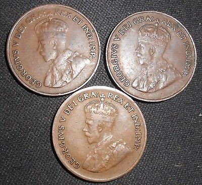 Lot of 3 Canada one Cent coins 1920 (2), 1929 (1)  Strong detail