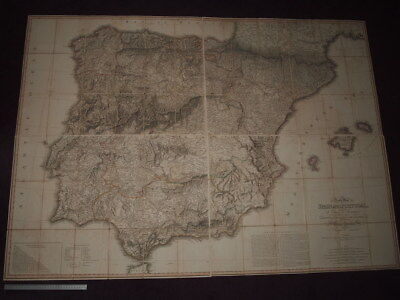 1810 William Faden Map Of Spain And Portugal For Military Operation By Nantiat