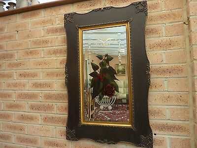 Stunning Vintage Reverse Painted Floral Bevelled  Mirror