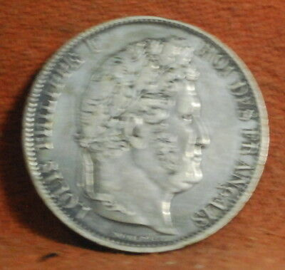 1844 France French Lille Mint Very Fine/Extra Fine Silver 5 Francs