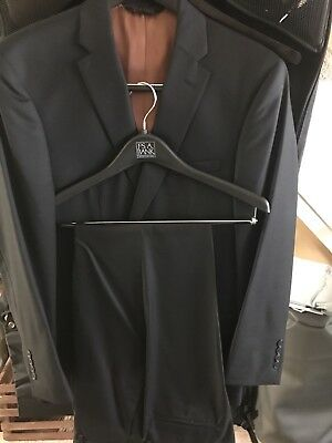 NEW Mens Jos. A Bank Tailored Hemmed Black Jacket Pants Slim Fit Suit 40R 32x33