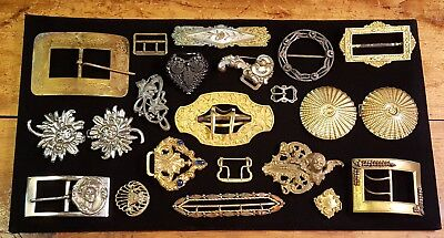 Lot of vintage/antique woman's belt buckles, fur/ scarf clips. Paris, Czech...