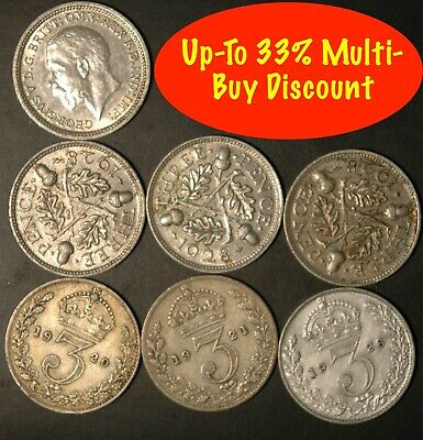 Threepence George V 1920 to 1936 .500 Silver Choose your Dates