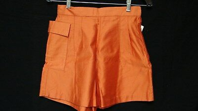 1950s OLD STOCK NOS VINTAGE ORANGE POLISHED COTTON SHORT SHORTS