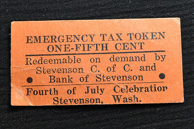 Washington, Stevenson, Orange Cardboard Sales Tax Token, M&d Wa-L48, R-6