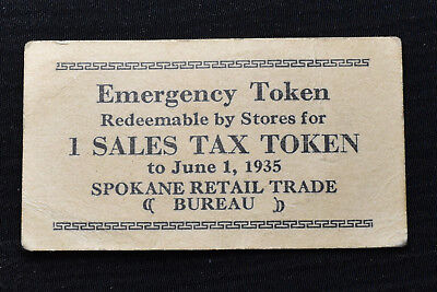Washington, Spokane, 1935, Cardboard Sales Tax Token, M&d Wa-L46, R-3