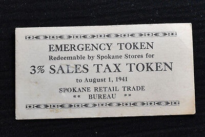 Washington, Spokane, 1941, Cardboard Sales Tax Token, M&d Wa-L47, R-3
