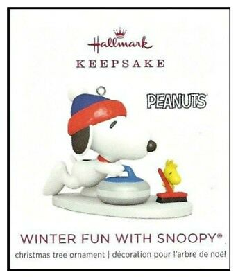 2018 Hallmark Peanuts Winter Fun With Snoopy Miniature Ornament!
