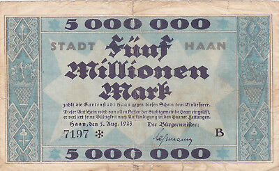 5 Millionen Mark Vg Banknote From Germany/haan 1923 !