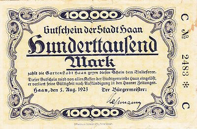 100 000 Mark Vg-Fine Banknote From Germany/haan 1923 !