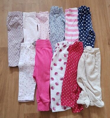 massive bundle baby girls 9-12 months leggings trousers x 11 pairs George f&f