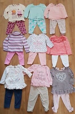 massive bundle baby girls clothes 9-12 months x 9 outfits mix & match long sleev