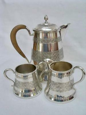 Superb Solid Silver Middle Eastern Vintage Three Piece Coffee Set.