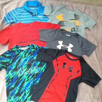 Lot of 6 Under Armour Boy Short Sleeve Shirts 6 7 YSM YXS
