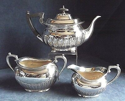 SUPERB Ornate ~ SILVER Plated ~ FLUTED Bulbous TEA SET ~ c1890 by Walker & Hall