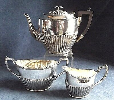 GOOD Fluted ~ SILVER Plated ~ Bulbous TEA SET ~ c1890 by William Nutt