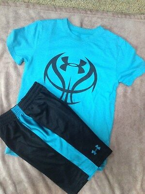 Under Armour Boy Shorts Shirts Set Size 6 7 EUC  Turquois and Black