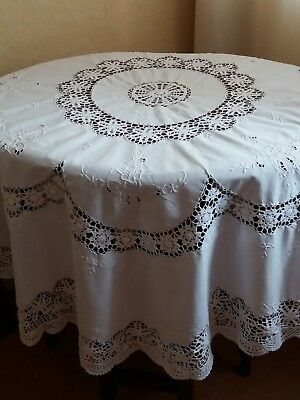 Vintage Tablecloth~Pure White Cotton Crochet Lace Whitework Hand  Embroidery~Vgc
