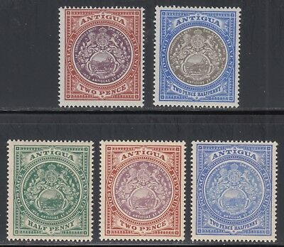 Antigua F/VF MH 1903-1912 5 Different Seal of the Colony Stamps SCV $53.25