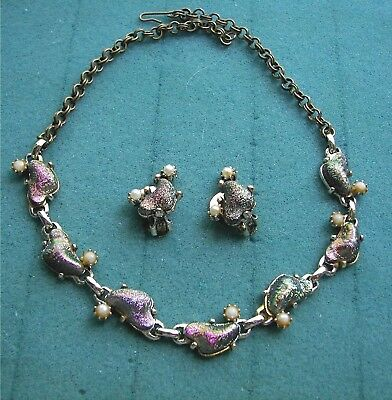 Iridescent Necklace & Clip Earring Set - Costume Jewelry  - Vtg