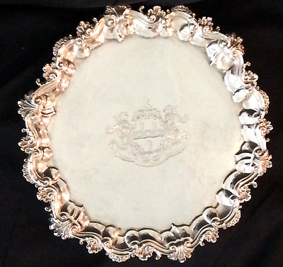 sterling silver armorial Salver, 1825, possibly William Reid, London, 25+ ounces