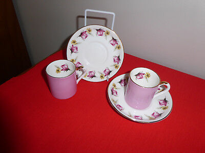 2 X Pink Rose Bud ~ Crown Staffordshire Fine Bone China ~ Coffee Cans & Saucers