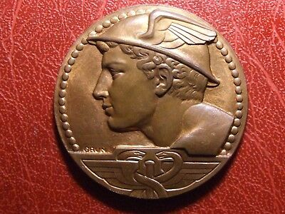 Hermes Olympian Greek god of Trade with caduceus & winged cap medal by GRUN