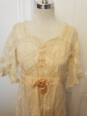 Antique Edwardian Lace Nitegown Sleep Gown Fine Cotton Pink Silk Ruffles Med