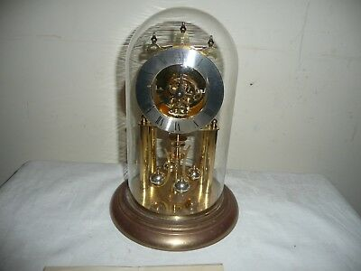 Vintage, Haller  Anniversary Clock in Glass Dome, For Restoration, Dome Perfect.
