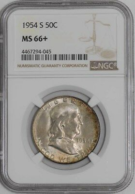 1954-S Franklin Half 50c #938864-62 MS66+ NGC