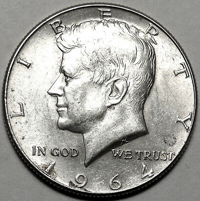 1964 Kennedy Silver Half Dollar. Au, About Uncirculated. One Year Type. #520