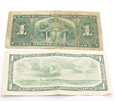 Canada /Canadian One Dollar (1937&1954) Collectible Paper Money 2 Bills