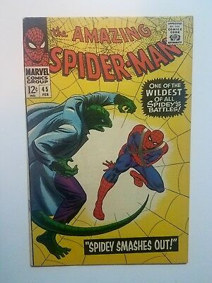 The Amazing Spider-Man #45 Feb 1967, 1st Series 3rd Lizard VF+/NM