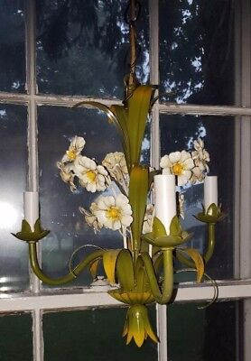 Vintage Tole Metal Flower Chandelier Yellow and Green - Shabby Chic  Mid Century