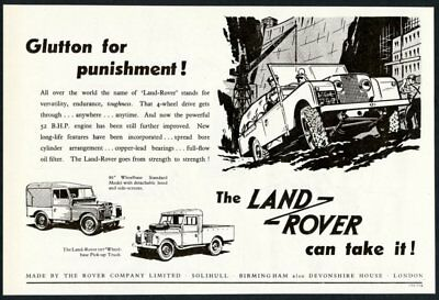 1954 Land Rover 86 and 107 pickup truck art UK vintage print ad