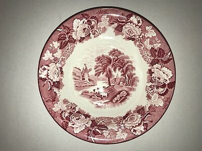 """Antique Enoch Woods & Son Red/pink English Scenery Round Serving Bowl 8"""""""