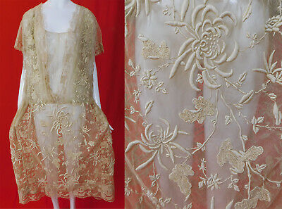 Vintage Cream Tulle Net French Knot Embroidery Filet Buratto Needle Lace Dress