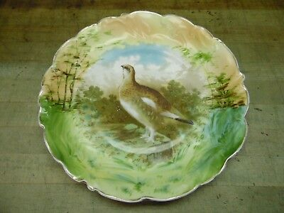 Antique ES Germany Porcelain Bowl / Plate / Tray  / Quail / Game Bird