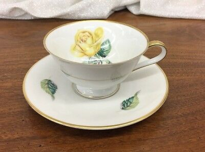 "Lovely H & Co Heinrich Germany ""Eclipse"" Yellow Rose Cup & Saucer"