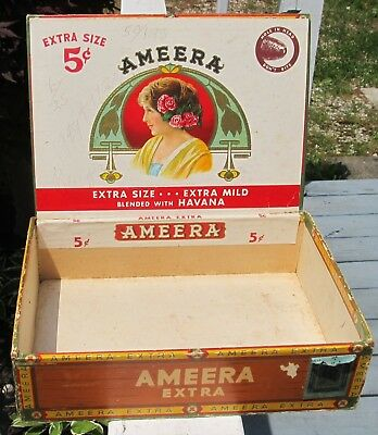 Vintage Cigar Box , 1920s -1930s , rare Ameera Extra brand , has tax stamp !!!
