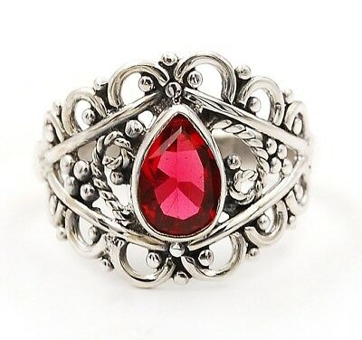 Rubellite Tourmaline 925 Solid Sterling Silver Filigree Ring Jewelry Sz 9